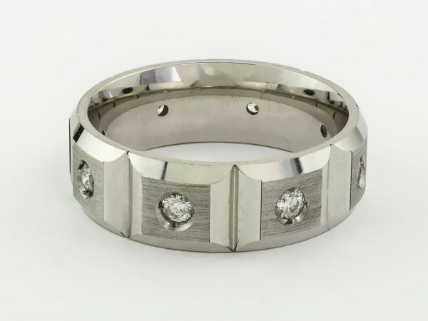 14kt White Gold Gents Eternity Diamond Wedding Band