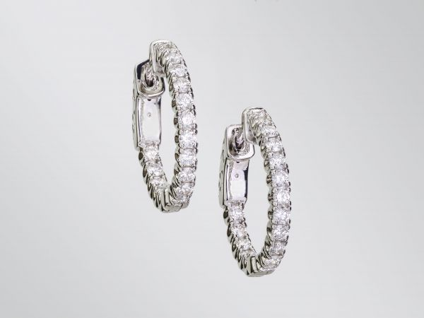 14kt White Gold Inside and Out Hoop Earrings