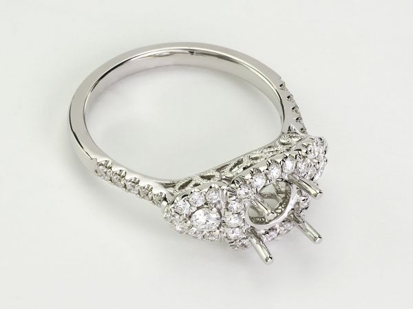 14kt White Gold Triple Halo Engagement Ring