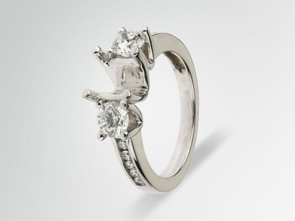14kt White Gold Three Stone Diamond Engagement Ring