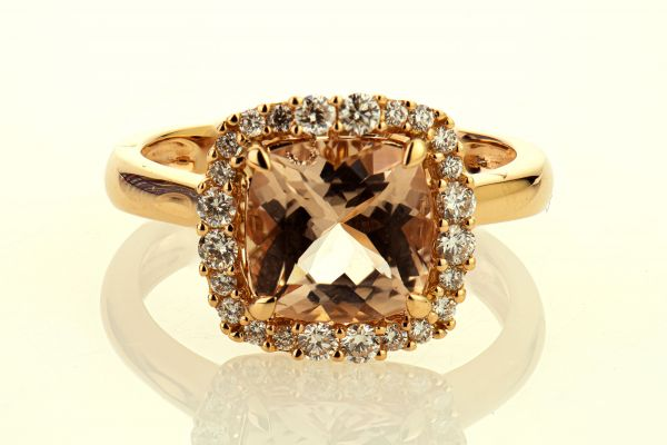 18kt Rose Gold Diamond and Morganite Ring