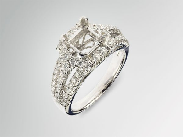 18kt White Gold Three Row Princess Cut Halo Engagement Ring