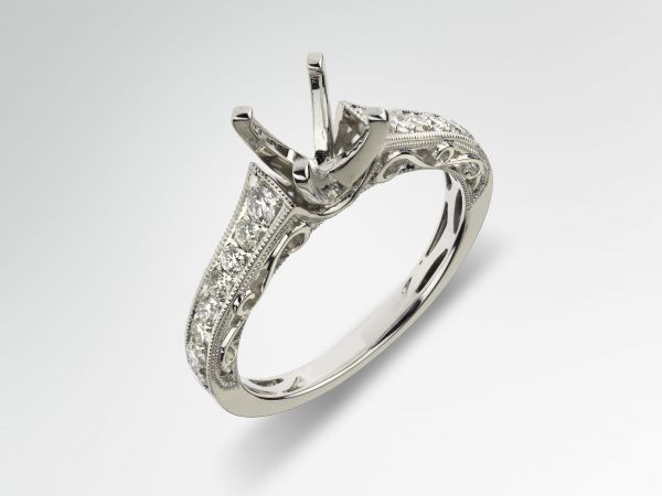 18kt White Gold Hand Engraved Cathedral Engagement Ring