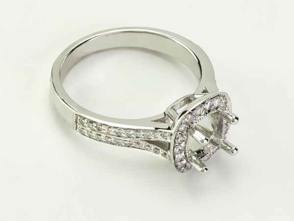 14kt White Gold Pave Set Cushion Cut Halo With A Split Shank