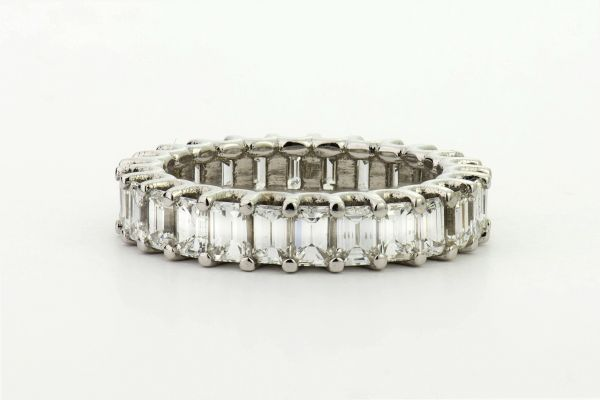 18kt White Gold Emerald Cut Eternity Band