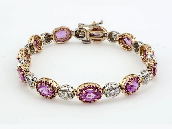 RECENTLY SOLD PINK SAPHIRRE AND WHITE DIAMOND BRACELET