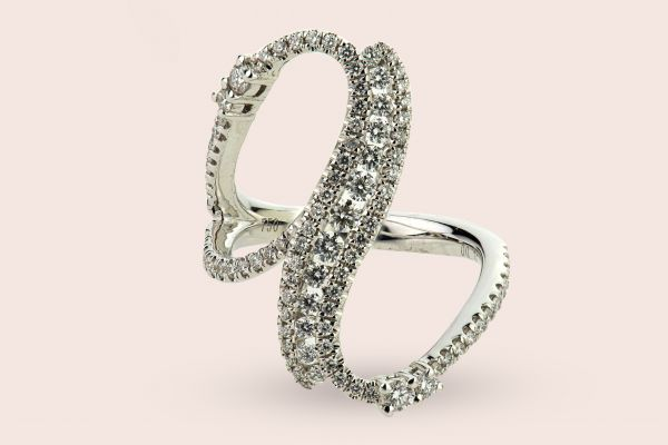 18kt White Gold Fancy Right Hand Ring with Diamonds
