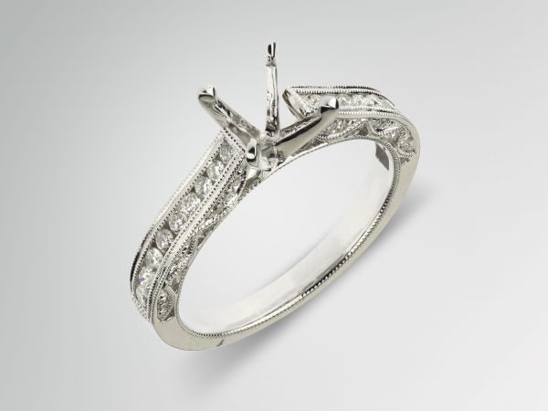 14kt White Gold Cathedral Engagement Ring
