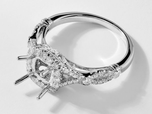 14kt White Gold Cushion Cut  Halo Infinity Engagement Ring